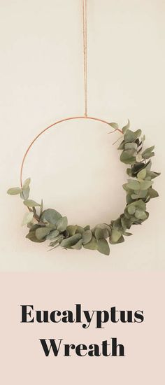 Asymmetrical eucalyptus wreath. This is pretty enough for year-round use, I think. It's not in-your-face Christmassy, just minimal, Scandi-style simplicity. #etsy #affiliate #handmade