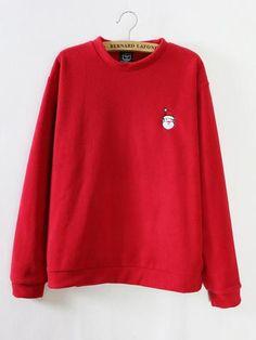 Women Christmas Embroidery Long Sleeve Fleeces Casual Sweatshirt