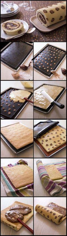 Gâteau roulé Léopard à la mousse au chocolat praliné:
