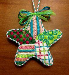 needlepoint patchwork star ornament, probably Associated Talents canvas
