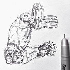 gn, Edon Guraziu : Here are a couple of sketches I did over the last couple of months. Bionic arms and robotics. Hope you enjoy these! Croquis Robot, Robot Sketch, Cyberpunk Kunst, Robot Parts, Arte Robot, 3d Modelle, Robot Concept Art, Ex Machina, Cyborgs