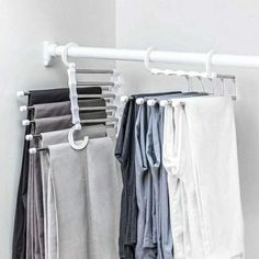 Pants rack shelves 5 in 1 Stainless Steel Multi-functional Wardrobe Magic Hanger Trouser Hangers, Pants Rack, Clothes Drying Racks, Clothes Hooks, Tie Rack, Hanger Rack, Wardrobe Storage, Clothing Storage, How To Fold Pants