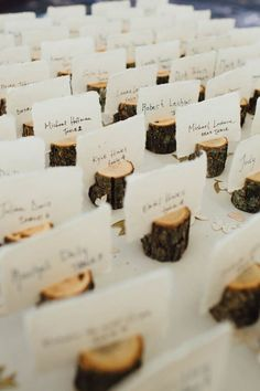 log place cards | 50+ Amazing Mountain Wedding Ideas http://emmalinebride.com/rustic/mountain-wedding-ideas/