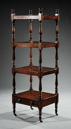 America Federal Carved Mahogany Etagere Four Shelves One Fitted With