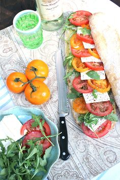 Heirloom Tomato with Feta and Arugula Ciabatta Sandwich