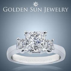 GOLDEN SUN JEWELRY: Princess cut 3 stone ring in an 18kt. White Gold setting. Simply beautiful. #bridal #bride #engagement #engaged #wedding #weddingring #engagementring #princesscut #gold #band #detroit #fashionista #fashion #designer #designerjewelry #jewelry #jeweler