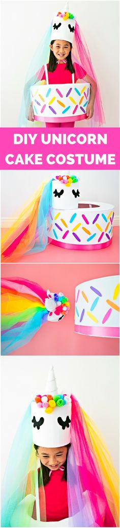DIY Unicorn Cake Costume. What a cute and sweet Halloween costume idea for kids.