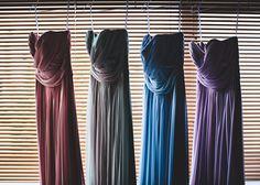 multi coloured bridesmaids dresses | pastel colors