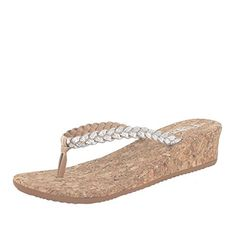 5e971656e2c0 Flojos Womens Hannah Wedge Sandal Silver 10 M -- For more information