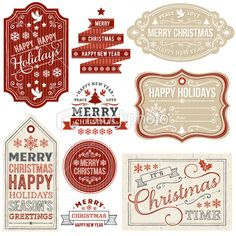 Christmas Gift Tags and Labels Royalty Free Stock Vector Art Illustration
