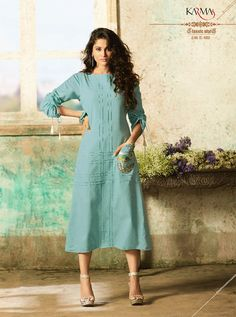 KARMA TC-9000 RATE : 695 - TUCUTE COLOUR PLUS BY KARMA  TC-9000 AND TC-9003 COLOUR FLEX COTTON WITH THREAD EMBROIDERY WORKED DESIGNER FANCY TUNICS KURTIS AT WHOLESALE PRICE AT DSTYLE ICON FASHION CONTACT: +917698955723 - DStyle Icon Fashion