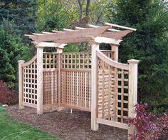 A pergola adds structure to the backyard garden - Backyard Structures for Entertaining - Small Pergola, Backyard Pergola, Pergola Plans, Backyard Landscaping, Pergola Ideas, Pergola Kits, Cheap Pergola, Small Patio, Backyard Projects