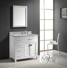 Ordinaire Virtu Caroline Parkway 36 In. Single Bathroom Vanity With Right Offset  Round Sink