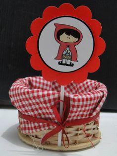 Enfeite de Mesa Cesta da Chapeuzinho Vermelho.   Podemos fazer com ela, a vovó e o lobo.   Quantidade minima: 5 unidades R$ 5,30