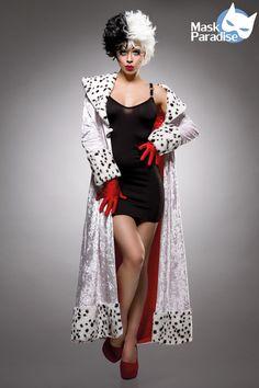 3tlg. Lady Cruella #Kostüm https://www.burlesque-dessous.de/kostueme/fasching-halloween/maerchenfiguren/3tlg.-lady-cruella-kostuem