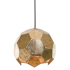 "A multi-faceted hexagonal pendant in an antiqued gold finish. Available in small or large. Also available in black. - Small Dimensions: 8""Dia x 7""H - Large Dimensions: 14""Dia x 14""H - Includes matchin"