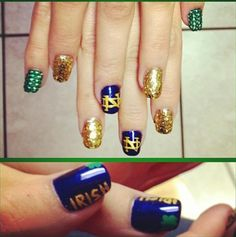 Lucky nails for Notre Dame My Bestie should get this done for her trip to Ireland this fall!