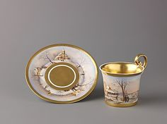 Austrian, Vienna (20th century). Cup and saucer with painted winter scenes, ca. 1829 (cup) and ca. 1834 (saucer). The Metropolitan Museum of Art, New York. Robert Lehman Collection, 1975 (1975.1.1611a,b)