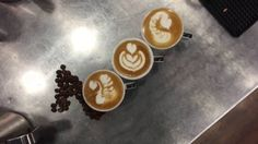 Latte Art - 3 espresso macchiato - swan tulip wave heart Latte Art, Swan, Tulips, Espresso, Projects To Try, Guys, Heart, Food, Espresso Coffee