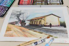 estação de trem em itaquara Bahia, aquarela / watercolor by Dêvson Lisboa