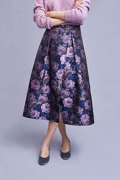 Slide View: 2: Viola Floral Midi Skirt, Purple
