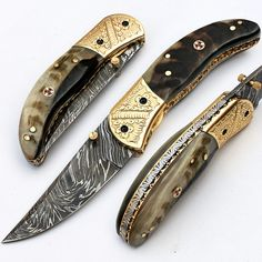 "FREE SHIPPING  07.50"" INCHES CUSTOM HAND MADE DAMASCUS STEEL FOLDING KNIFE.   HERE WE HAVE A CUSTOM HAND MADE DAMASCUS STEEL FOLDING KNIFE WITH DIFFERENT KIND OF SHAPE.OVER ALL LENGTH IS 07.50...@ artfire"