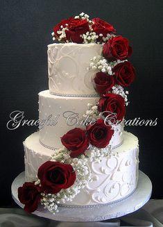 2017 02 11 14 45 06 20 fabulous spring wedding cakes for 2020 Wedding Cake Roses, Elegant Wedding Cakes, Beautiful Wedding Cakes, Wedding Cake Designs, Beautiful Cakes, Perfect Wedding, Red Wedding Cakes, Red Velvet Wedding Cake, Christmas Wedding Cakes