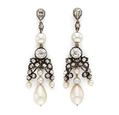 A Pair of Antique Natural Pearl and Diamond Ear Pendants, 19th Century