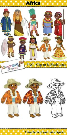 Children of the World Clip art – Africa. This set contains a boy and girl dressed in the traditional clothes of the country they are representing. This set includes: 1. Egypt 2. Kenya 3. Mauritius 4. Morocco 5. South Africa #ramonam #ramonamgraphics #teacherclipart #childrenoftheworld #childrenoftheworldclipart #clipartforteachers