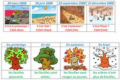 [licensed for non-commercial use only] / les saisons et le temps High School French, French Kids, French Teacher, Teaching French, Seasons Lessons, Weather For Kids, Calendar Themes, Season Calendar, Math Board Games