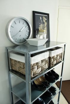 Add extra storage to the Ikea hyllis unit by buying two and combining the shelves into one.