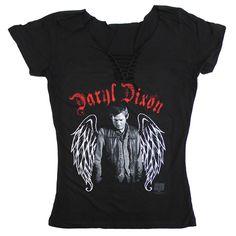 BikerOrNot Store - The Walking Dead - Ladies Slit V-Neck Daryl Wings T-Shirt, $21.97 (http://store.bikerornot.com/the-walking-dead-ladies-slit-v-neck-daryl-wings-t-shirt/)