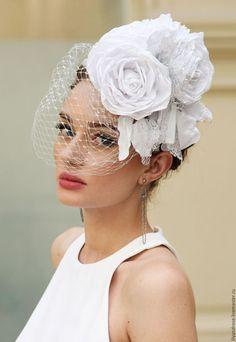 Wedding hat / Одежда и аксессуары ручной работы. Ярмарка Мастеров - ручная работа. Купить Свадебная шляпка ободок. Handmade. Белый, шляпки жаки