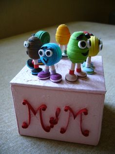 Quilled M&M candies lol how cute