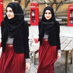 Hijab style. Colours: red, black and white:)
