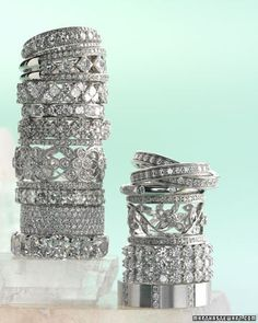 Thick vintage diamond bands.