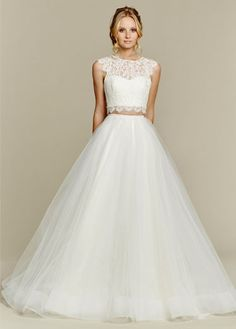 Blush by Hayley Paige Sunny 1553 Two-Piece Ball Gown Wedding Dress – Off White by Bridal Expressions