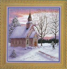 Complete Counted Cross Stitch Kit 14ct Church Snow Morning NEW GIFT 56x41cm