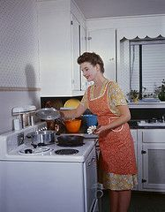 1946 in the kitchen (elena-lu) Tags: cooking kitchen vintage baking blackwhite 1930s cleaning apron domestic 1940s laundry 1950s household housewife