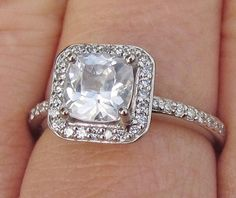 Engagement Ring Square Cushion White Sapphire by pristinejewelry, $1430.00