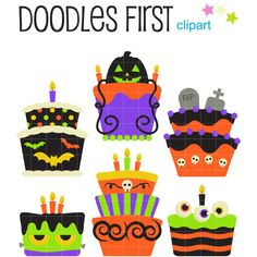 This clipart set includes the following elements. 6 x Halloween Cakes Each clipart illustration is included separately as a high resolution PNG file with a transparent background, a JPG with a white background and as as editable SVG file. Each object is provided at a sizes of 5.5 Inches on its longest side. The PNG makes it versatile to scale for any project. No watermarks will appear on purchased items. The purchased clip art that will be provided is much higher quality that what you se...