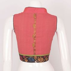Buy Online Blouses - Hand Crafted Ikat Cotton Blouse With Collar Neck & Boondi Design 10025145 - Size 36 - profile - AVISHYA.COM