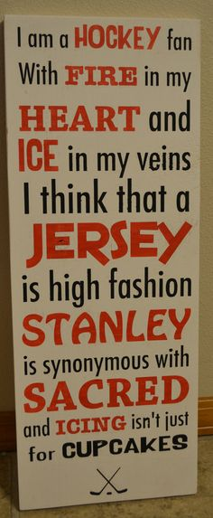 hockey signs sports fan signs hockey fan signs by DesignsOnSigns3, $35.00