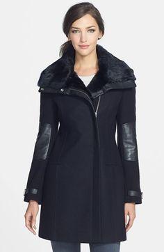 Andrew Marc New York 'Mara' Rabbit Fur & Leather Trim Wool Blend Coat on shopstyle.com