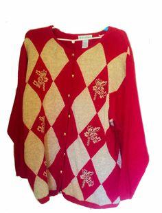 25f8a28b3d Dressbarn Women s Beaded Christmas Sweater Cotton Blend Size 22   24   dressbarn  buttonfront