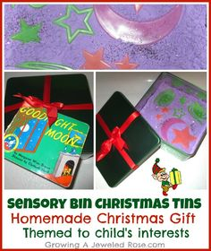 Homemade Christmas gift for kids- Sensory Bin Christmas Tins. These can easily be modified to individual interests :)