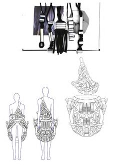 Fashion Sketchbook - sculptural fashion design development with fashion illustrations & textiles samples; fashion portfolio // Philli Wood