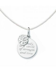 """Silver necklace """"Family is a circle of strength and love"""""""