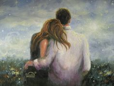 Loving Couple Print couples in love lovers by VickieWadeFineArt,