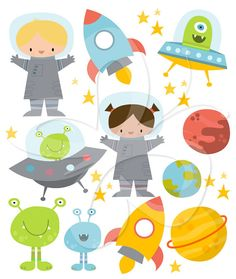 This digital clipart set comes with the following illustrations:    2 x Astronauts  3 x Stars  2 x Aliens in Ship  2 x Standing Aliens  3 x